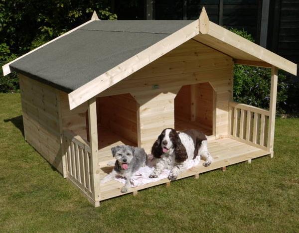 будка-домик для двух собак с перегородкой